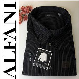 ALFANI Men's Black fitted button down shirt 👔